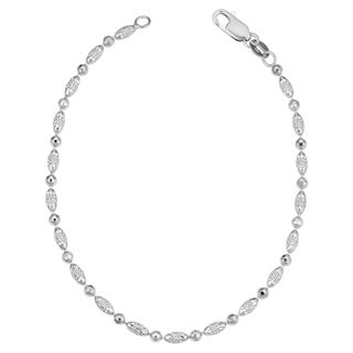 Argento Italia Sterling Silver Alternate Diamond-cut Round And Oval Beads Anklet (9 inch)
