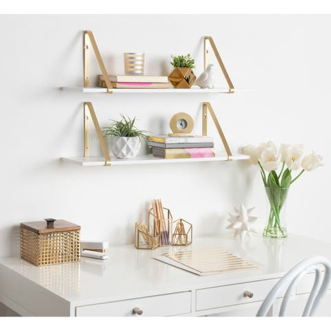 Kate And Laurel Soloman Wooden Shelves With Metal Brackets 2 Pc Set