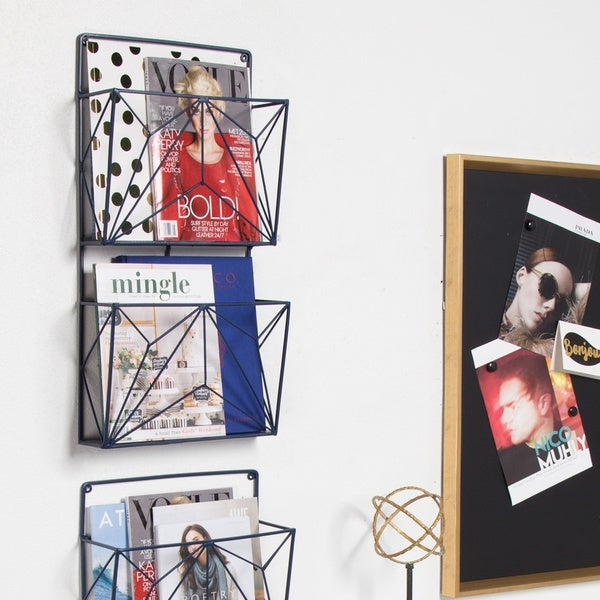 Kate and Laurel Tyde 2 Pocket Metal Hanging Wall File Holder