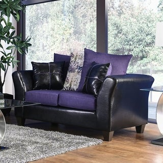 Furniture of America Rowalta Contemporary Black/Purple Flared Loveseat