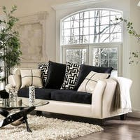 Furniture of America Rowalta Contemporary Black/Ivory Flared Sofa