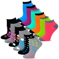 TeeHee Women's Fashion No Show Fun Socks 12 Pairs Packs