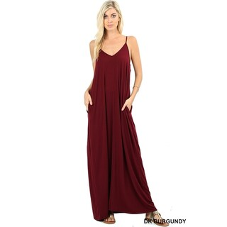 JED Women's Soft Fabric Tank Maxi Dress with Side Pockets (More options available)