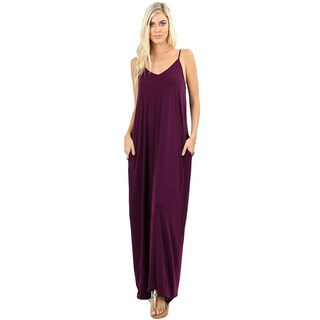 JED Women's Soft Fabric Tank Maxi Dress with Side Pockets (3 options available)