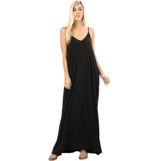 JED Women's Soft Fabric Tank Maxi Dress with Side Pockets (2 options available)