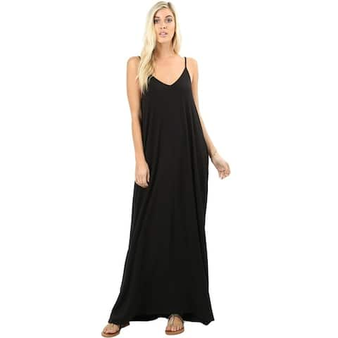 f1145b3df41 JED Women s Soft Fabric Tank Maxi Dress with Side Pockets