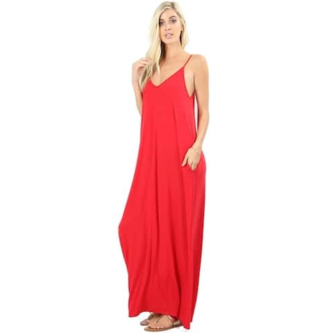 e1d6e0b8514 JED Women s Soft Fabric Tank Maxi Dress with Side Pockets