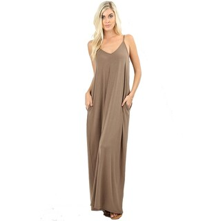 JED Women's Soft Fabric Tank Maxi Dress with Side Pockets