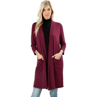 JED Women's 3/4 Sleeve Soft Fabric Solid Cardigan