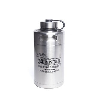 "Manna Silver Stainless Steel ""Manna Brewing Co."" Keg Growler Water Bottle BPA Free 64 oz."