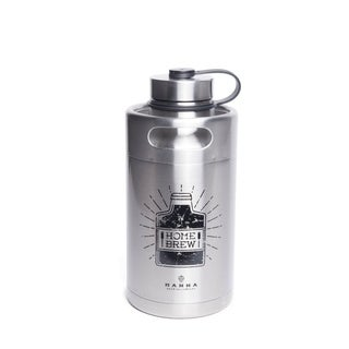 "Manna Silver Stainless Steel ""Home Brew"" Keg Growler Water Bottle BPA Free 64 oz."