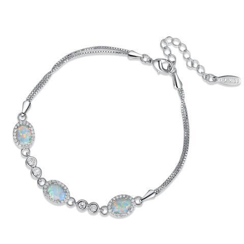 Rhodium Plated Fire Opal Oval Shape Cubic Zirconia Adjustable Bracelet