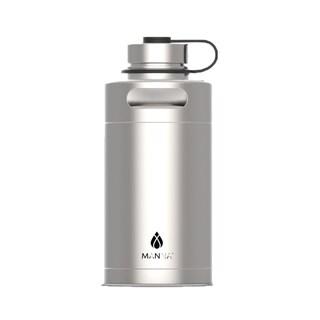 Manna Silver Stainless Steel Plain Keg Growler Water Bottle BPA Free 64 oz.