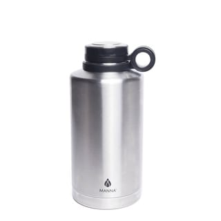 da05ab16d9 Shop Manna Silver Stainless Steel Plain Ring Growler Water Bottle BPA Free  64 oz. - Free Shipping On Orders Over $45 - Overstock - 19858949