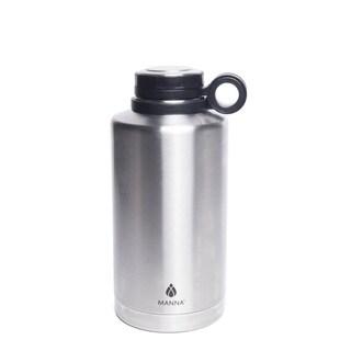 Manna Silver Stainless Steel Plain Ring Growler Water Bottle BPA Free 64 oz.
