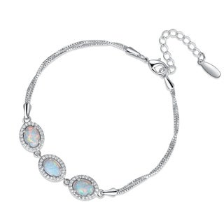 Fire Opal Adjustable Bracelet in Rhodium Plating