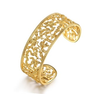Gold Plated Filigree Leaf Cuff Bangle