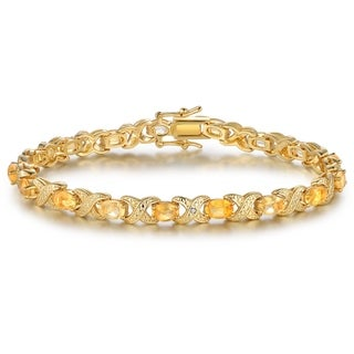 Yellow Gold Plated Citrine Tennis Bracelet