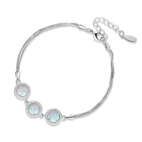 Rhodium Plated Fire Opal Round Shape Cubic Zirconia Adjustable Bracelet