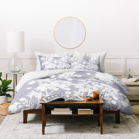Deny Designs Delicate Floral Pattern on Lilac Duvet Cover Set (3-Piece Set)