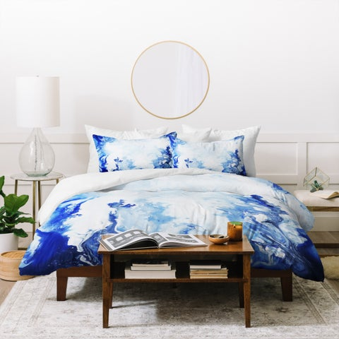 Deny Designs Blue and White Marble Duvet Cover Set (3-Piece Set)