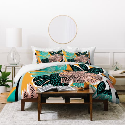 Deny Designs Orange Tropical Duvet Cover Set (3-Piece Set)