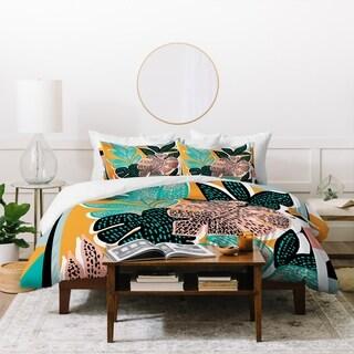 Deny Designs Orange Tropical Duvet Cover Set (3-Piece Set)