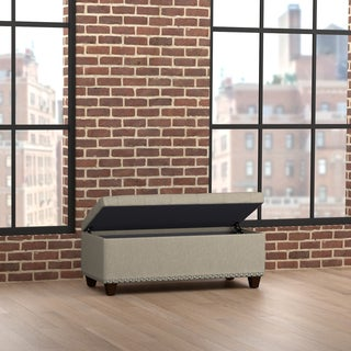 Handy Living Tufted Wall Hugger Bench Storage Ottoman in Barley Tan Linen