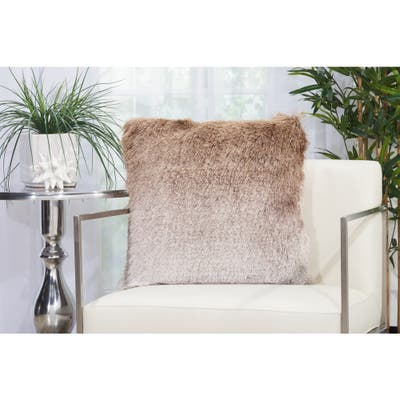 Mina Victory Illusion Fuzzy Shag Ombre Throw Pillow by Nourison