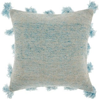 Mina Victory Pastel Blue Tassel Throw Pillow by Nourison (1'6 x 1'6) (More options available)