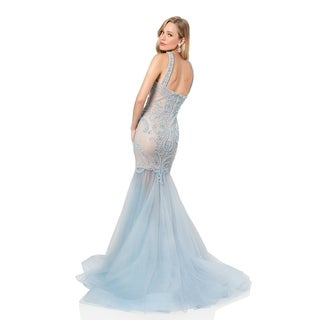 Sheer Illusion Trumpet Prom Gown