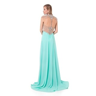 Mock neck empire Prom Gown with jewel embelished Top
