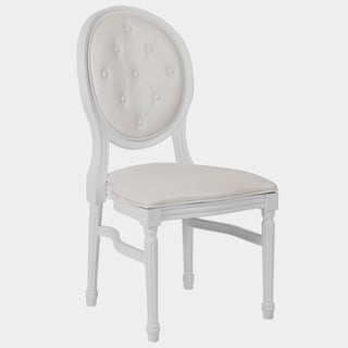 Goleta Round Tufted Back White Dining Chair