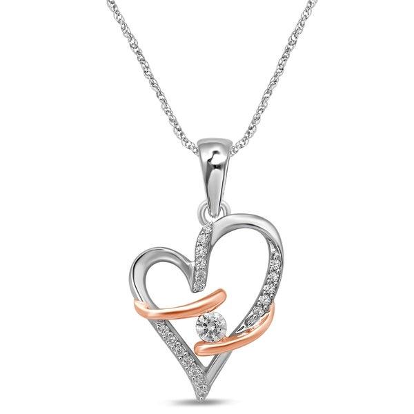 Fine Jewelry 1/10 CT. T.W. Diamond Two-Tone 14K Gold Heart Pendant Necklace LgNjVn