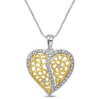 Unending Love 10K Two Tone Gold 1/3 CT TW Fashion Heart Pendant
