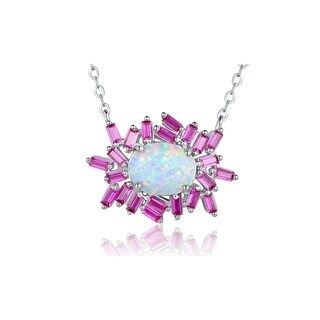 White Gold Plated Fire Opal Ruby Colored Quartz Cubic Zirconia Pendant