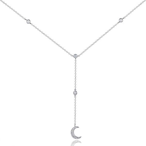White Gold Plated Swarovski Elements Moon Crescent Pendant Necklace