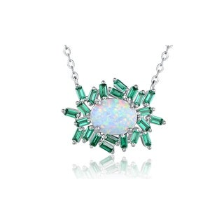 White Gold Plated Fire Opal Green Colored Quartz Emerald Cut Cubic Zirconia Pendant