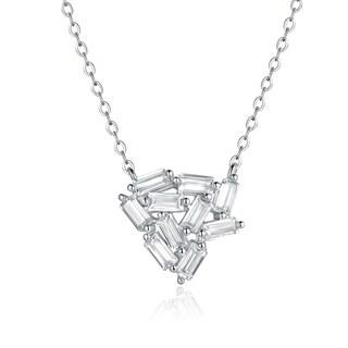 Rhodium Plated Cubic Zirconia Emerald Stone Shape Necklace