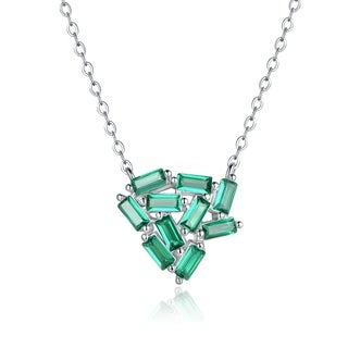 Rhodium Plated Green Colored Quartz Necklace