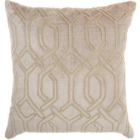 "Mina Victory Luminecence Embroidered Interlock Throw Pillow by Nourison (18"" x 18"")"