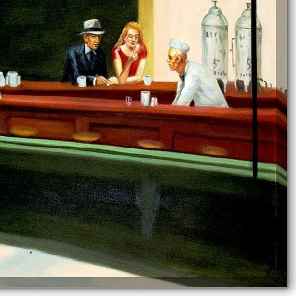 Nighthawks Oil Painting Edward Hopper Famous Art Hand-Painted on Canvas Premium Quality Best Copy Reproduction Wall Art Decor Unframed