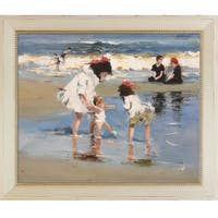 Edward Potthast 'Children Playing at the Seashore' Hand Painted Oil Reproduction