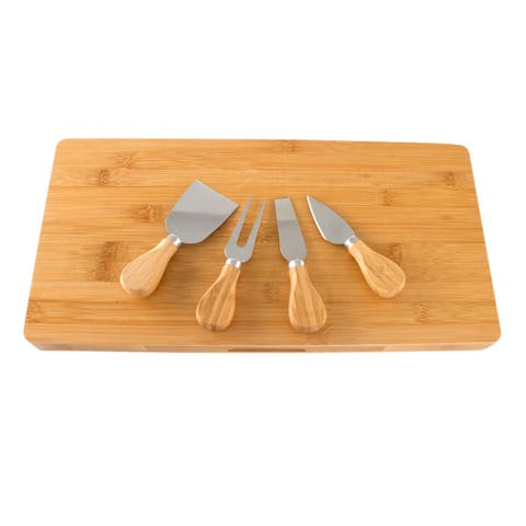 "Imperial Home Bamboo Rectangle 16"" X 8"" Cheese Board and Cutlery Set With Slide Out Drawer"