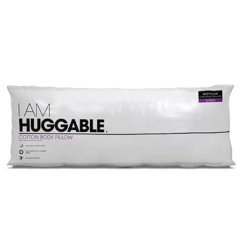 I AM Huggable Cotton Hypoallergenic Firm Support Body Pillow - White