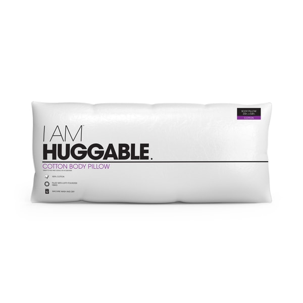 I AM Huggable Cotton Body Pillow - White