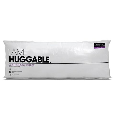 I AM Huggable Cotton Body Pillow - White