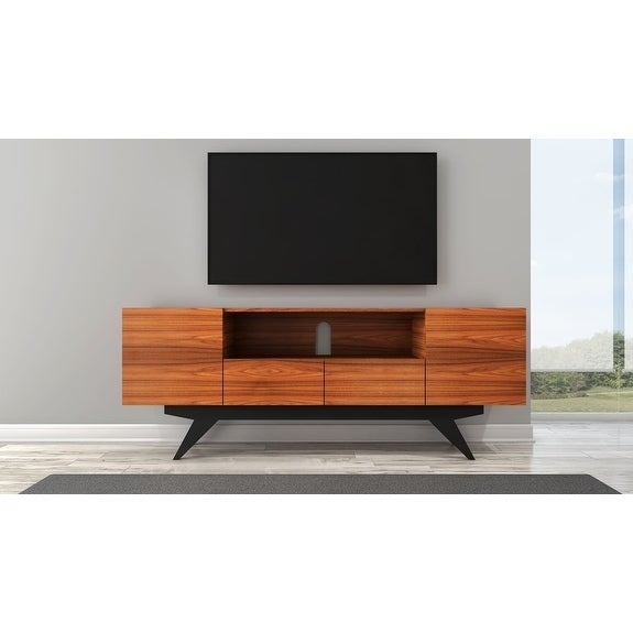 Shop 78 Mid Century Modern Tv Console In Iron Wood Free Shipping