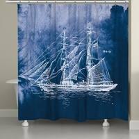 Laural Home Indigo Sailing Ship Shower Curtain