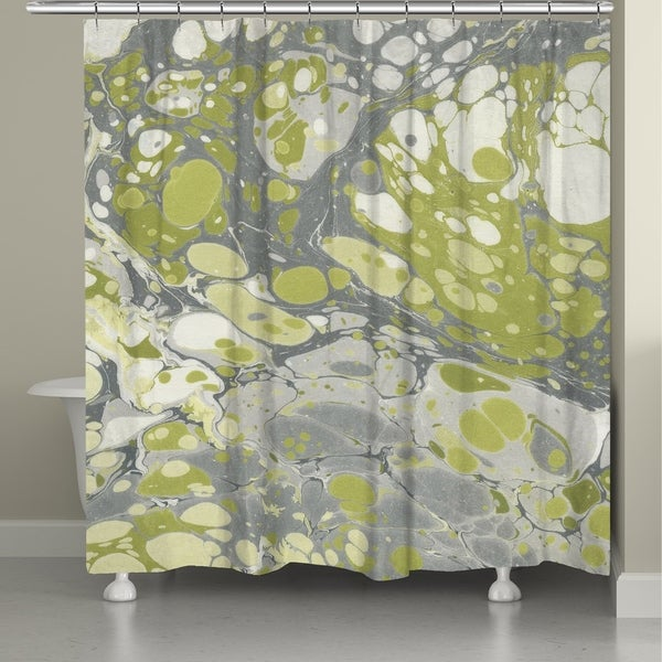 Laural Home Olive Marble Shower Curtain